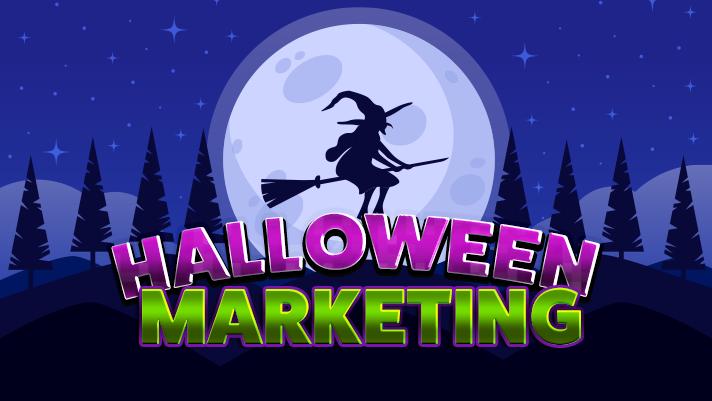 halloween marketing; witch flying full moon spooky tree