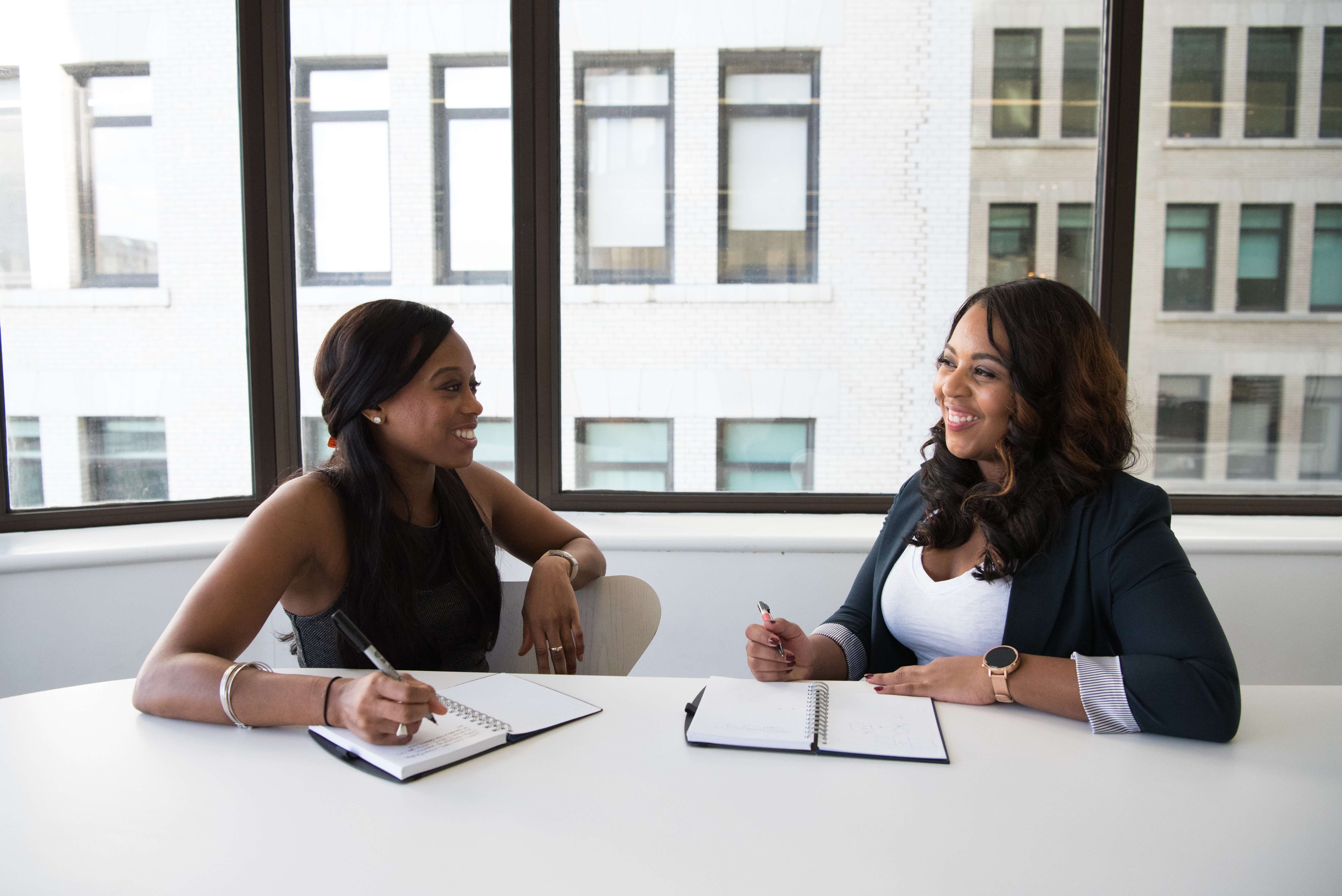 two women meeting working