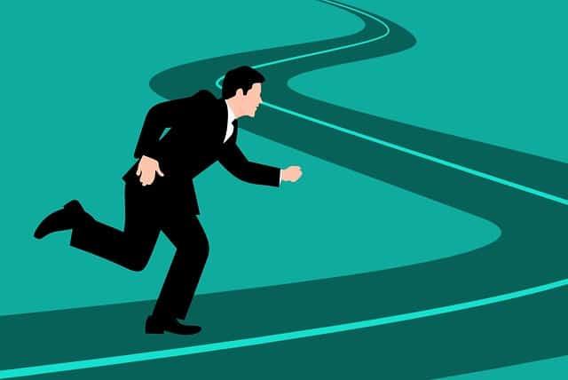 man running away blue background long winding road