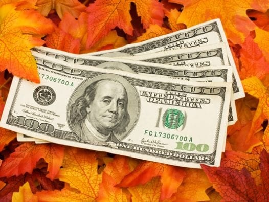 thanksgiving money on leaves